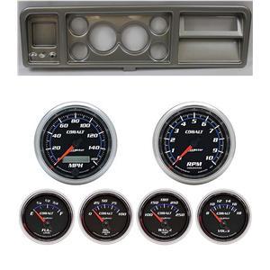 "73-79 Ford Truck Silver Dash Carrier w/ Auto Meter 3-3/8"" Cobalt Gauges"