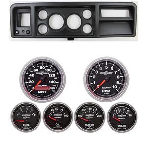 "73-79 Ford Truck Black Dash Carrier w/ Auto Meter 3-3/8"" Sport Comp II Gauges"