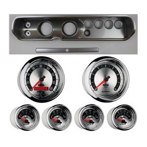 """64 Chevelle Silver Dash Carrier w/ Auto Meter 3-3/8"""" American Muscle Gauges"""