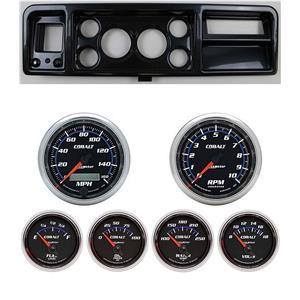"73-79 Ford Truck Carbon Dash Carrier w/ Auto Meter 3-3/8"" Cobalt Gauges"
