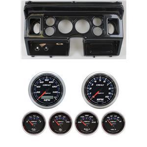 "80-86 Ford Truck Carbon Dash Carrier w/ Auto Meter 3-3/8"" Cobalt Gauges"