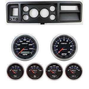 "73-79 Ford Truck Black Dash Carrier w/ Auto Meter 3-3/8"" Cobalt Gauges"