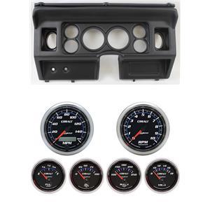 "80-86 Ford Truck Black Dash Carrier w/ Auto Meter 3-3/8"" Cobalt Gauges"