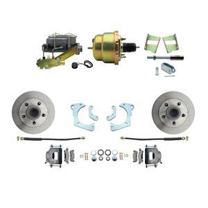 59-64 Chevy Full Size Power Front Disc Brake Kit Standard Rotor Raw Caliper