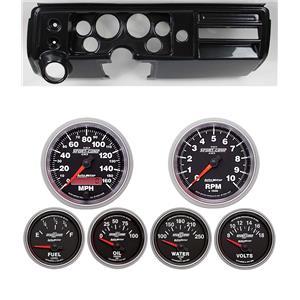 """68 Chevelle Carbon Dash Carrier w/ Auto Meter 3-3/8"""" Sport Comp II Gauges"""