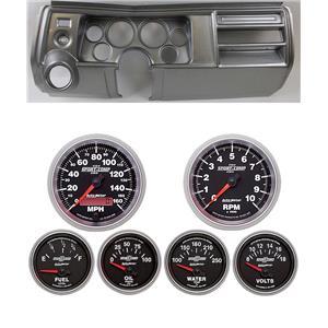 "69 Chevelle Silver Dash Carrier w/ Auto Meter 3-3/8"" Sport Comp II Gauges"