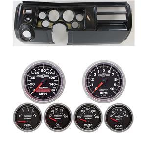 """69 Chevelle Carbon Dash Carrier w/ Auto Meter 3-3/8"""" Sport Comp II Gauges"""