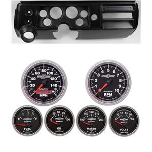 "68 Chevelle Black Dash Carrier w/ Auto Meter 3-3/8"" Sport Comp II Gauges"