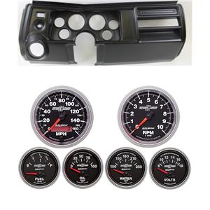 "69 Chevelle Black Dash Carrier w/ Auto Meter 3-3/8"" Sport Comp II Gauges"
