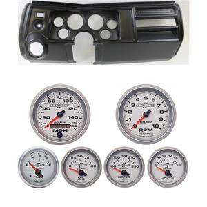 """69 Chevelle Black Dash Carrier w/ Auto Meter 3-3/8"""" Ultra-Lite II Gauges"""