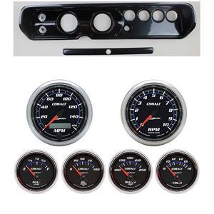 """64 Chevelle Carbon Dash Carrier w/ Auto Meter 3-3/8"""" Cobalt Gauges"""