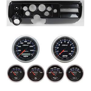 """68 Chevelle Carbon Dash Carrier w/ Auto Meter 3-3/8"""" Cobalt Gauges"""