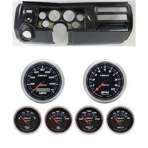 """69 Chevelle Carbon Dash Carrier w/ Auto Meter 3-3/8"""" Cobalt Gauges"""
