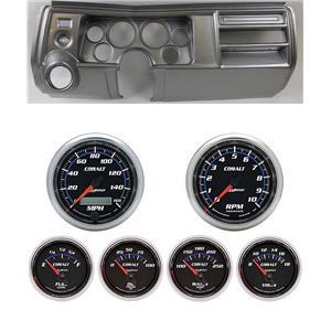 "69 Chevelle Silver Dash Carrier w/ Auto Meter 3-3/8"" Cobalt Gauges"
