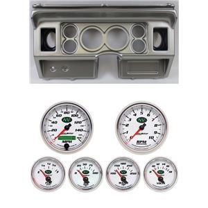 "80-86 Ford Truck Silver Dash Carrier w/ Auto Meter 3-3/8"" NV Gauges"