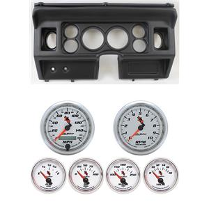 "80-86 Ford Truck Black Dash Carrier w/ Auto Meter 3-3/8"" C2 Gauges"
