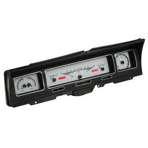 Dakota Digital 68 Chevy Impala VHX Analog Dash Gauges Silver Alloy Red VHX-68C-IMP-S-R