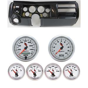 """69 Chevelle Carbon Dash Carrier w/ Auto Meter 3-3/8"""" C2 Gauges"""