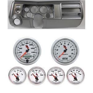 "69 Chevelle Silver Dash Carrier w/ Auto Meter 3-3/8"" C2 Gauges"