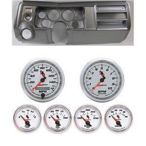 "69 Chevelle Silver Dash Carrier w/ Auto Meter 3-3/8"" C2 Gauges"