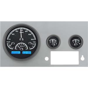 Dakota Digital 55 - 86 Jeep CJ VHX Analog Dash Gauges System Instruments Black Alloy Blue VHX-55J-K-