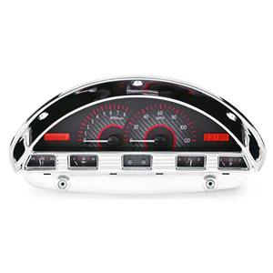 Dakota Digital 1956 Ford F100 VHX System, Carbon Fiber Style Face, Red Display