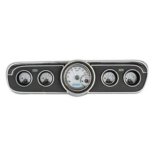 Dakota Digital 65-66 Ford Mustang Analog Gauges Silver White VHX-65F-MUS-S-W