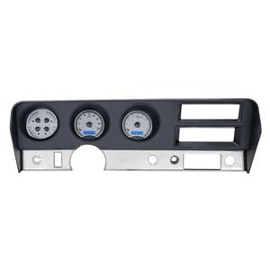 Dakota Digital 70-72 Pontiac GTO Analog Gauges Silver Alloy Blue VHX-70P-GTO-S-B