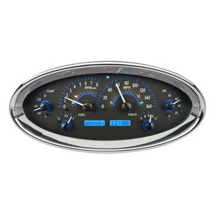 Dakota Digital Universal Oval Analog Gauges Carbon Fiber Blue VHX-1017-C-B