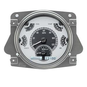 Dakota Digital 66 - 77 Ford Bronco VHX System Analog Dash Gauges Silver Alloy White VHX-66F-BRO-S-W