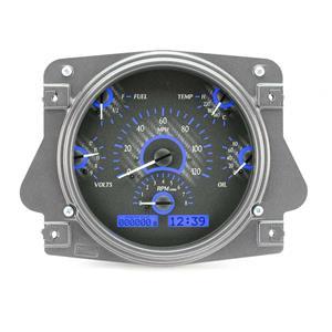 1966-77 Ford Bronco VHX System, Carbon Fiber Face - Blue Display