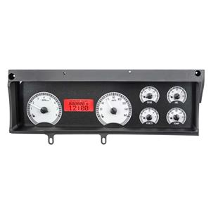Dakota Digital 70-72 Chevy Malibu Analog Gauges Silver Red VHX-70C-MAL-S-R