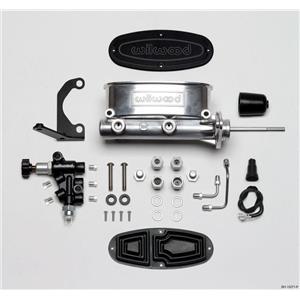 """Wilwood 7/8"""" Tandem Aluminum Master Cylinder Polished w/ Proportioning Valve"""