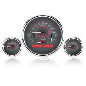 Triple Round Universal VHX System, Carbon Fiber Face - Red Display