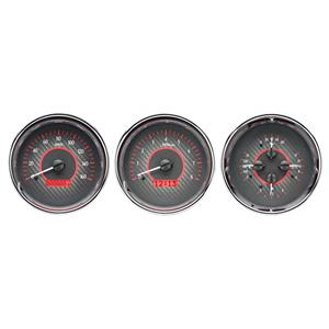 Triple Round Universal VHX System, Carbon Fiber Style Face, Red Display