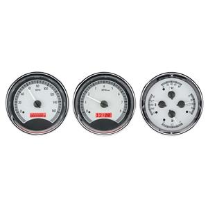 Triple Round Universal VHX System, Satin Alloy Style Face, Red Display