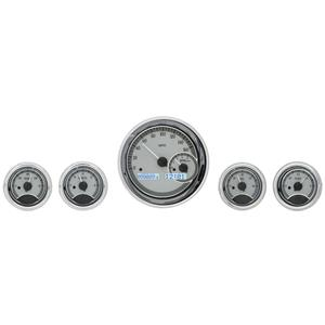 Dakota Digital Universal 5 Round Gauges Analog Dash Silver Alloy / White VHX-1022-S-W