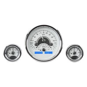 Dakota Digital Round Universal Analog Gauges Silver Alloy White VHX-1013-S-W