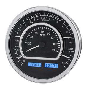 Dakota Digital Universal Round Analog Gauges Black Blue Display VHX-1021-K-B