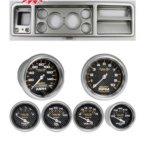73-79 Ford Truck Silver Dash Carrier w/ Auto Meter Carbon Fiber Electric Gauges