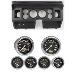 80-86 Ford Truck Black Dash Carrier w/ Auto Meter Carbon Fiber Electric Gauges