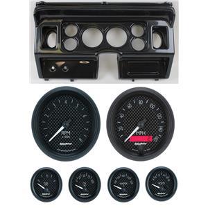 "80-86 Ford Truck Carbon Dash Carrier w/ Auto Meter 3-3/8"" GT Gauges"