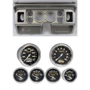 80-86 Ford Truck Silver Dash Carrier w/ Auto Meter Carbon Fiber Electric Gauges