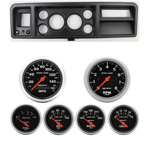 73-79 Ford Truck Black Dash Carrier w/ Auto Meter Sport Comp Electric Gauges