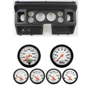 "80-86 Ford Truck Black Dash Carrier w/ Auto Meter 3-3/8"" Phantom Electric Gauges"