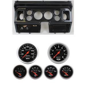 80-86 Ford Truck Carbon Dash Carrier w/ Auto Meter Sport Comp Electric Gauges