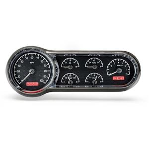 1953-54 Chevy Car VHX System, Black Alloy Style Face, Red Display