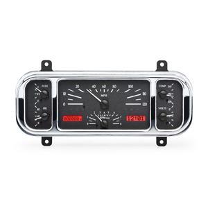 Dakota Digital 1937-38 Chevy Car VHX Dash Gauge Instruments System, BLACK ALLOY style and RED displa
