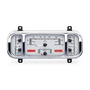 Dakota Digital 1937-38 Chevy Car VHX Dash Gauge Instruments System, SILVER ALLOY style and RED displ