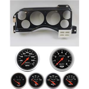 87-89 Mustang Carbon Dash Carrier w/ Auto Meter Sport Comp Electric Gauges